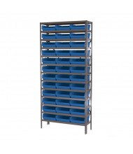 "Akro-Mils 13-Shelf 12"" D Steel Shelving Unit with 4"" H Bins (Shown with Blue Bins)"