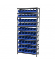 "Akro-Mils 11-Shelf Steel Shelving Unit with System Bins (12"" D with Blue Bins)"
