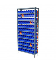 "Akro-Mils 13-Shelf Steel Shelving Unit with Blue/Orange Indicator Bins (12"" D with 96 Bins)"