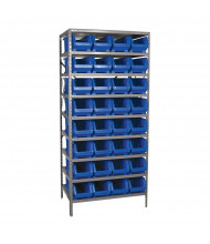"Akro-Mils 24"" D Steel Shelving Unit with Super-Size AkroBins (Shown with Blue Bins)"