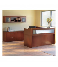 Mayline Aberdeen AT37 L-Shaped Reception Desk Set (cherry, example of use)
