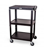 Luxor 3-Shelf Height Adjustable Presentation AV Cart (Shown in Black)