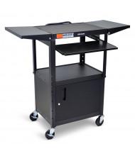 Luxor 4-Shelf Height Adjustable Folding Side Shelves Presentation AV Cart (Shown in Black)