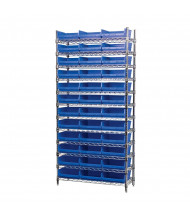 "Akro-Mils 12-Shelf 14"" D Wire Shelving Unit with 4"" H Bins (11-5/8"" D x 11-1/8"" W x 4"" H model shown)"