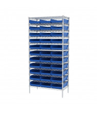 "Akro-Mils 12-Shelf 18"" D Wire Shelving Unit with 4"" H Bins (17-7/8"" D x 11-1/8"" W x 4"" H model shown)"