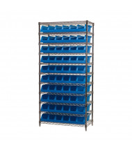 "Akro-Mils 11-Shelf Wire Shelving Unit with System Bins (33"" D x 18"" W x 5"" H model shown)"