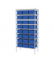 "Akro-Mils 18"" D Wire Shelving Unit with Akro-Grid Bins (16-1/2"" D x 10-7/8"" W x 6"" H model shown)"