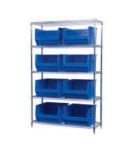 "Akro-Mils 18"" D Wire Shelving Unit with Super-Size AkroBins (Shown with 8 Blue Bins)"