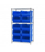 "Akro-Mils 24"" D Wire Shelving Unit with Super-Size AkroBins (23-7/8"" D x 16-1/2"" W x 11"" H model shown)"