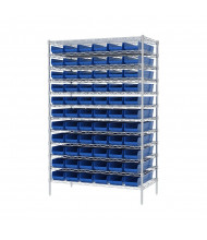 "Akro-Mils 12-Shelf 24"" D Wire Shelving Unit with 4"" H Bins (23-5/8"" D x 6-5/8"" W x 4"" H model shown)"