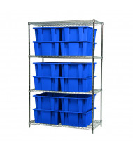 Akro-Mils Wire Shelving Unit with Nest & Stack Tote Bins