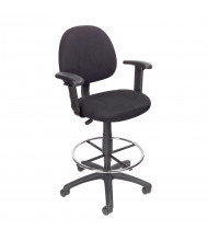 Boss B1616 Adjustable Arms Contoured Back Fabric Drafting Stool, Footring (Shown in Black)