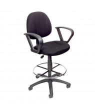 Boss B1617 Contoured Back Fabric Drafting Stool, Footring (Shown in Black)