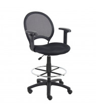 Boss B16216 Adjustable Arms Mesh-Back Fabric Drafting Stool, Footring