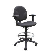 Boss B1691 Adjustable Arms Contoured Back Drafting Stool, Footring (Shown in Black)