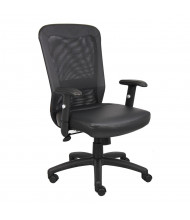 Boss The Web B580 Mesh-Back LeatherPlus Mid-Back Executive Office Chair (Shown with Black Base)