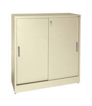 "Sandusky 36"" W 18"" D Elite Storage Cabinets, Clear View Sliding Door, Assembled (Shown in Putty)"