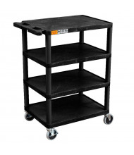 "Luxor 4-Shelf 18"" x 24"" Plastic Utility Cart, (Shown in Black)"