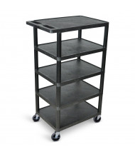"Luxor 5-Shelf 18"" x 24"" Plastic Utility Cart 300 lb Load, (Shown in Black)"