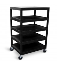 "Luxor 5-Shelf 18"" x 24"" Foam Plastic Utility Cart 300 lb Load, Black"