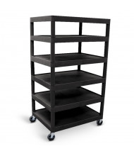 "Luxor 6-Shelf 24"" x 32"" Foam Plastic Utility Cart 300 lb Load, Black"