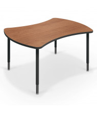 Balt Quad Height Adjustable Student Desk (Shown in Amber Cherry)