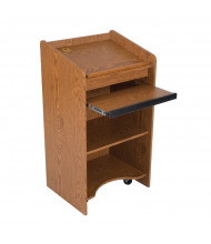 Balt Sliding Keyboard Drawer Mobile Floor Lectern (Shown in Oak)