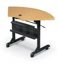 """Balt Flipper 46"""" W x 24"""" D Quarter-Round Nesting Training Table (Shown in Teak)"""