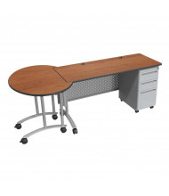 "Balt 60"" W Height Adjustable Single Pedestal Teacher Conference Desk (Amber Cherry)"
