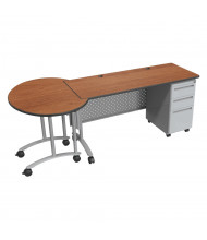 "Balt 72"" W Height Adjustable Single Pedestal Teacher Conference Desk (Shown in Amber Cherry)"