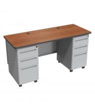 "Balt 60"" W Height Adjustable Double Pedestal Teacher Desk (Shown in Amber Cherry)"