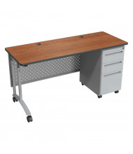"Balt 60"" W Height Adjustable Single Pedestal Teacher Desk (Shown in Amber Cherry)"