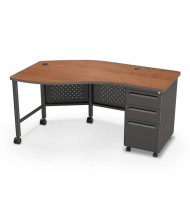 "Balt 60"" W Instructor Teacher Desk II, Cherry / Black"