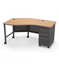 "Balt 60"" W Instructor Teacher Desk II, Oak / Black"