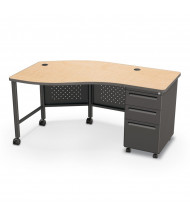 "Balt 60"" W Instructor Teacher Desk II, Oak / Black"