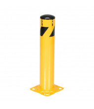 "Vestil 5.5"" Round Removable Plastic Cap Steel Pipe Bollard Post with Chain Slots (24"" model shown)"