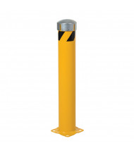 "Vestil 5.5"" Round Removable Bolt-On Cap Steel Pipe Bollard Post with Chain Slots (24"" model)"