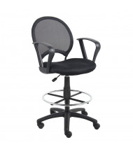 Boss B16217 Loop Arms Mesh-Back Fabric Drafting Stool, Footring
