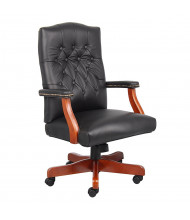 Boss B915 Traditional Leather Hardwood High-Back Executive Office Chair (Shown in Black)