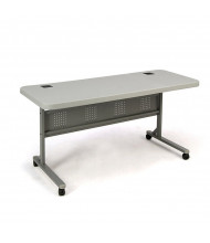 "NPS Flip-n-Store 60"" W x 24"" D Training Table, Speckled Grey"