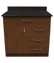 "Alera Plus 36"" W x 24"" D 4-Drawer/Door Hospitality Cabinet Base, Cherry/Granite Nebula"