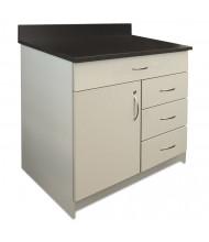 "Alera Plus 36"" W x 24"" D 4-Drawer/Door Hospitality Cabinet Base, Grey/Granite Nebula"