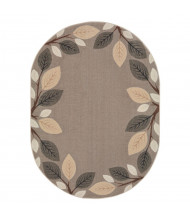 Joy Carpets Breezy Branches Oval Classroom Rug, Neutral