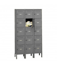 Tennsco Unassembled 5-Tiered 3-Wide High Steel Box Lockers with Legs (Shown in Medium Grey)