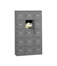 Tennsco Assembled 5-Tier 3-Wide Metal Box Lockers without Legs (Shown in Medium Grey)