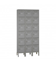 Tennsco Assembled 6-Tier 3-Wide Metal Box Lockers with Legs (Shown in Medium Grey)