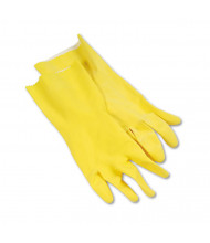 Boardwalk Flock-Lined Latex Cleaning Gloves, Large, Yellow, 12/Pairs