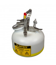 "Justrite BY12752 Quick-Disconnect 2 Gallon Poly Safety Can with Fittings for 3/8"" Tubing, White"