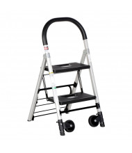 "Vestil 37"" H 2-Step Aluminum Ladder Cart 300 lb. C-130-2"