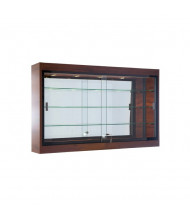 "Tecno C12-48 48"" Shadow Box Wall Display Case 9"" D x 48"" W (black frame/mahogany finish)"